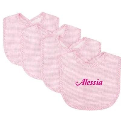 Pink Gingham Seersucker Bibs