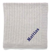 Personalized Blanket - Grey Cable Knit
