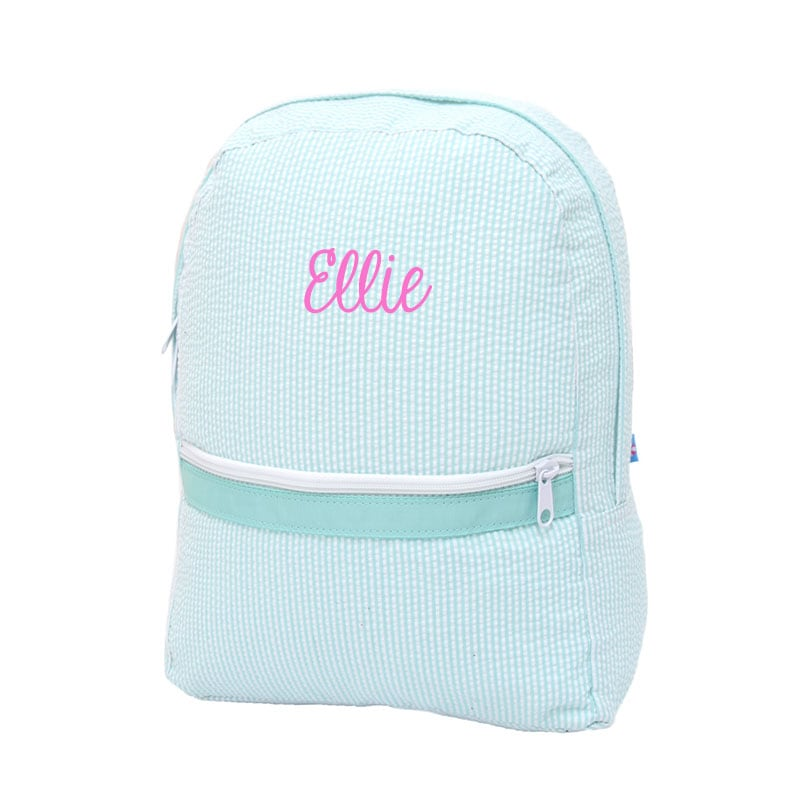 02b2af489c Mint Seersucker Toddler Personalized Backpack - You Name It Baby!
