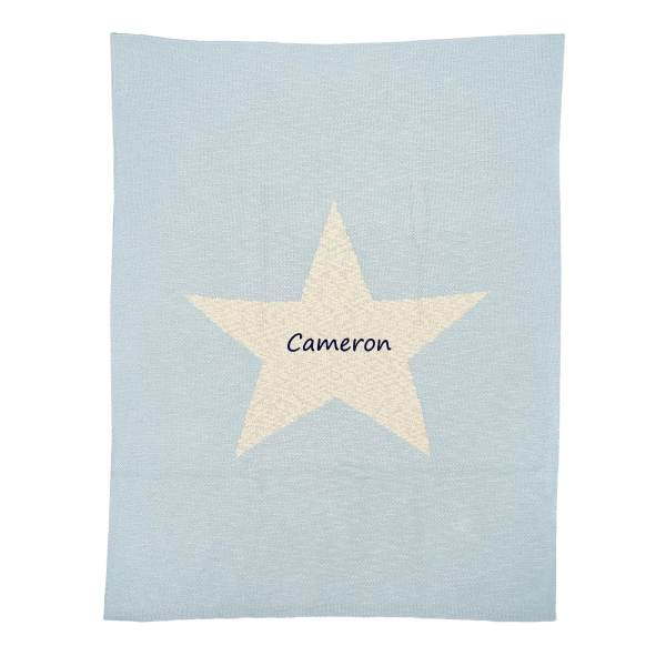 Personalized Baby Blanket - Thick Baby Blue Star
