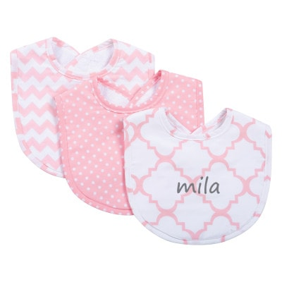 Pink Sky Personalized Bibs