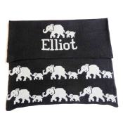 Hand Knit Personalized Blanket - Elephant