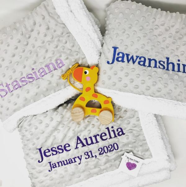 Personalized Baby Blankets - Grey Popcorn