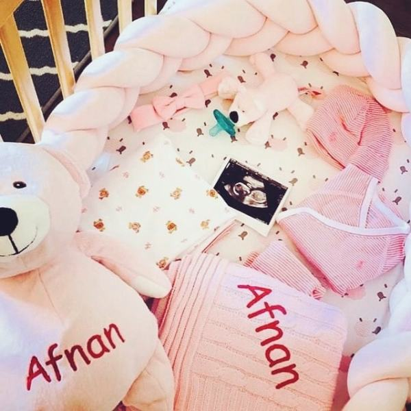 Personalized Blanket & Bear Set in Hot Pink