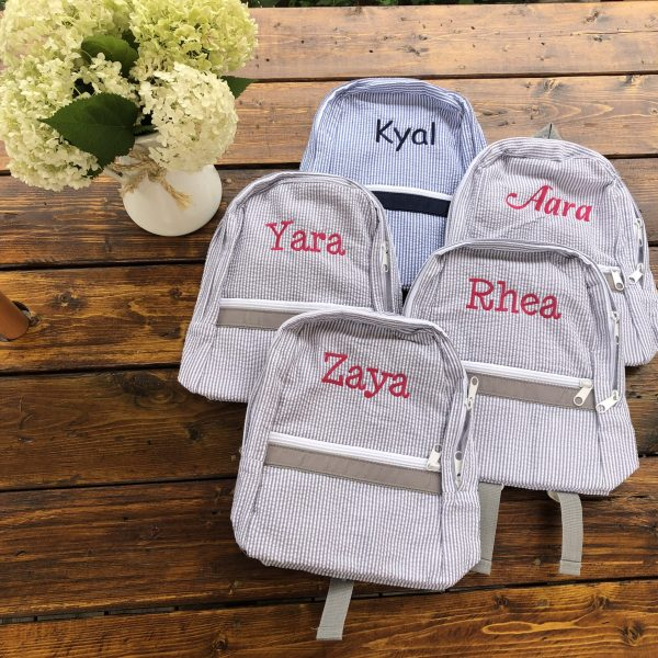 Grey Seersucker Bags