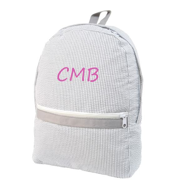 Personalized Toddler Backpack - Grey Seersucker