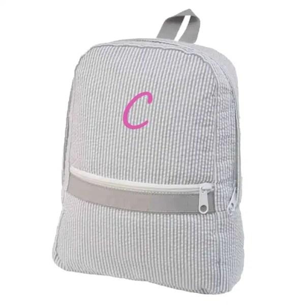 Personalized Kids Backpack - Grey Seersucker