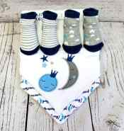 4 Piece Sock and Bib Set - Blue