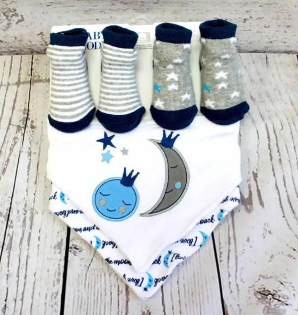 4 Piece Sock and Bib Set - Blue
