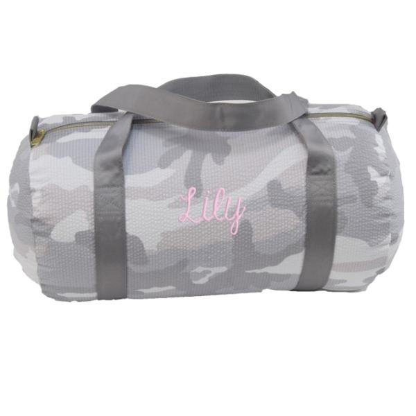 Personalized Duffel - Grey Camo (in baby pink)