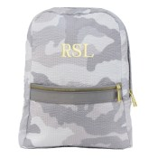 Kids Personalized Backpack - Grey Camo (shown in gold)
