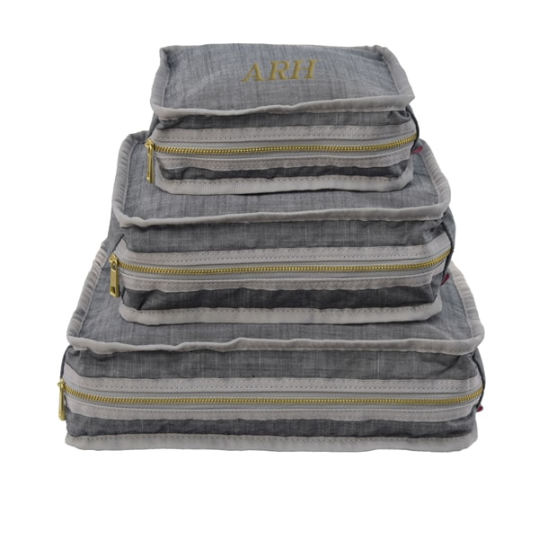 Personalized Travel Stacking Set of 3 - Grey Chambray