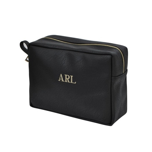 Personalized Black Faux Leather Travel Pouch