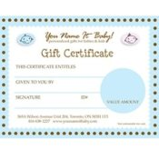 BABY GIFT CERTIFICATES