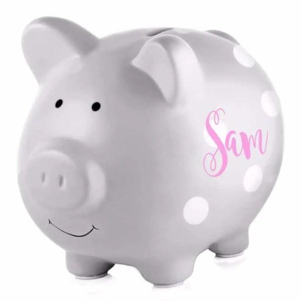 Personalized Piggy Bank - Grey Polka Dots
