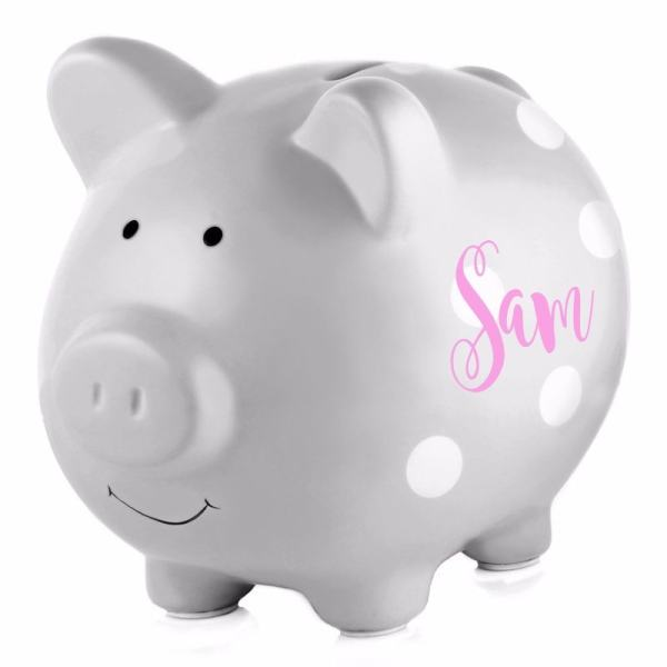 Personalized Piggy Bank - Grey Polka Dots