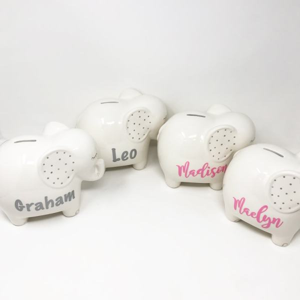 Personalized Piggy Banks - Elephants