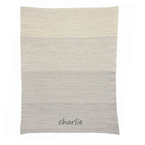 Personalized Baby Blanket - Ombre Grey