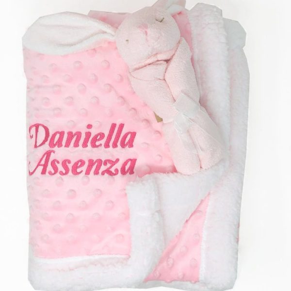 Personalized Baby Blanket & Lovey in Pink