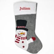 Personalized Christmas Stocking - Grey Snowman