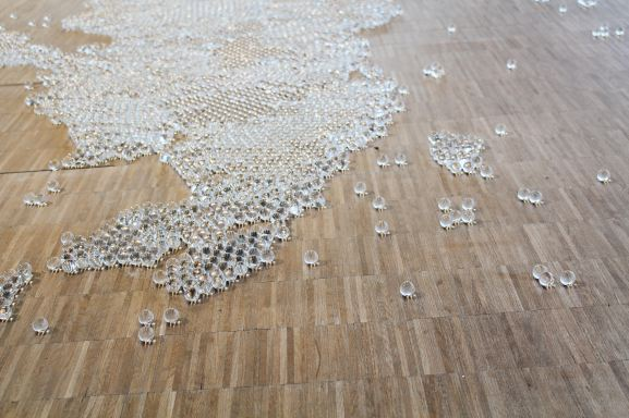 Map (clear), 2014 | Mona Hatoum exhibition, Centre Pompidou, Paris | Photographed by Clarissa of Youneedacocktail