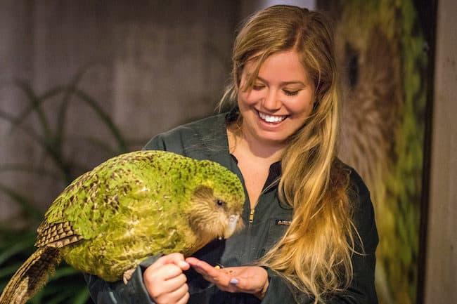 Liz holding a kiwi bird