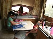 Doing our School Work In the Caravan (We Didn't Do That Often)