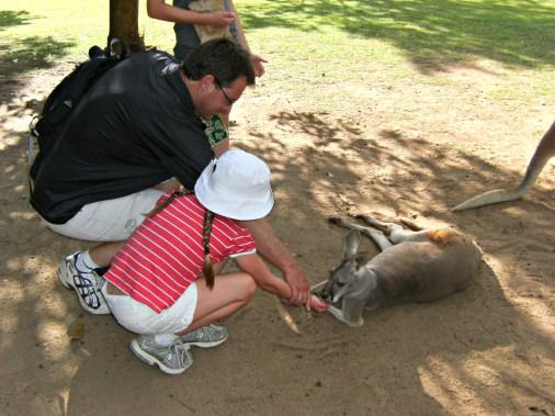 Feeding the Kangaroos with Dad