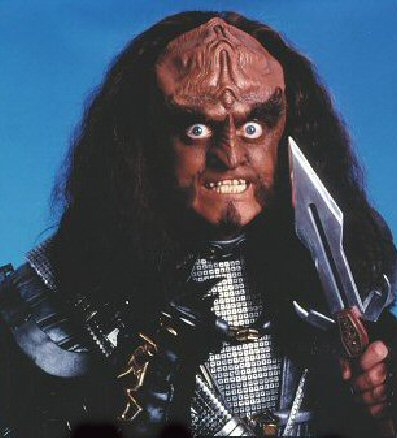 Gowron from TNG looking like his creepy-ass self.
