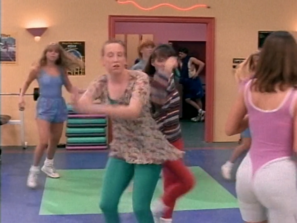 A bunch of teenagers doing aerobics. I mean dancing.