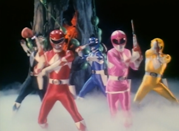 The power rangers posing n the time warp.