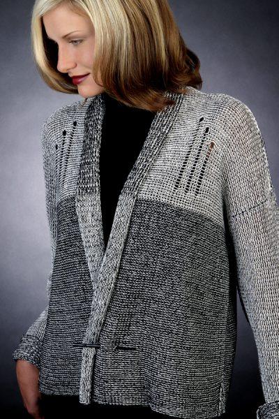 Black & white version of Color Bridges Jacket Front view