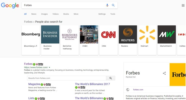 second screenshot of a related search