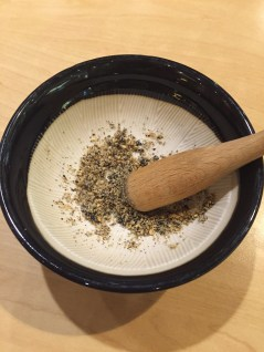 """At the restaurant Saboten (which seems to be a Japanese chain that is now in Korea), they gave us our own mortar and pestle of a sort and we crushed a bunch of sesame and other seeds, into which we later poured our Donkatsu sauce into. This was, I assume, to enhance the flavor and the smell that wafted up as the seeds got crushed was amazing. It was so """"고소해"""", which unfortunately has no direct translation in english, but means something like flavorful."""