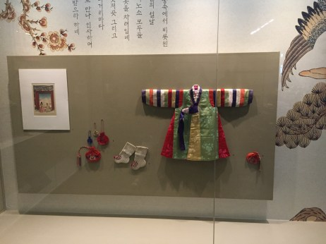 Example of baby clothes. I'm assuming this is for a child's first birthday/ 100 days, which is significant in Korea. You can also see the socks and money pouch that would go along with this outfit.