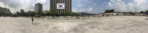 Panorama of the outside surroundings of Gyeongbokgung. You can see the gate to the right