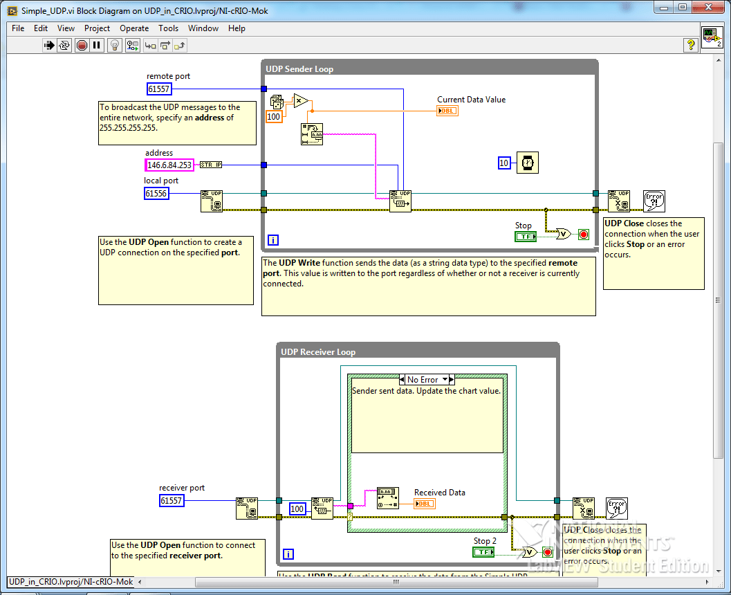 Simplest Bidirectional UDP Program in Labview - Youngmok Yun