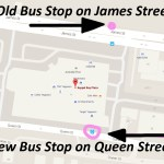 The Keppel Bay Plaza Bus Stop has moved back to Queen Street