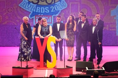 FOR SUNDAY MAIL Young hero VIP winner: Jack Trueman. Alison Barr accepts the award on his behalf. Young Scot Awards 2015, Usher Hall, Edinburgh.. FEE PAYABLE FOR ALL INTERNET USE All money payable:- Mark Anderson Flat 2/2 Glasgow G41 3HG