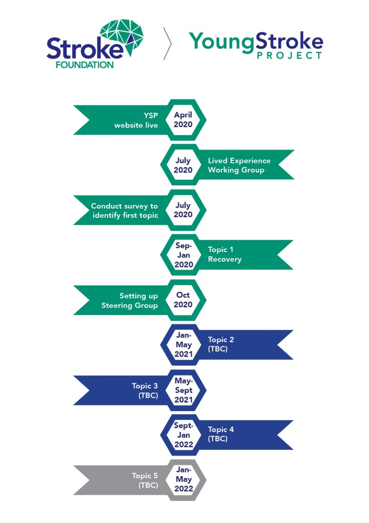Young Stroke project timeline from April 2020 to May 2022, showing key milestones.