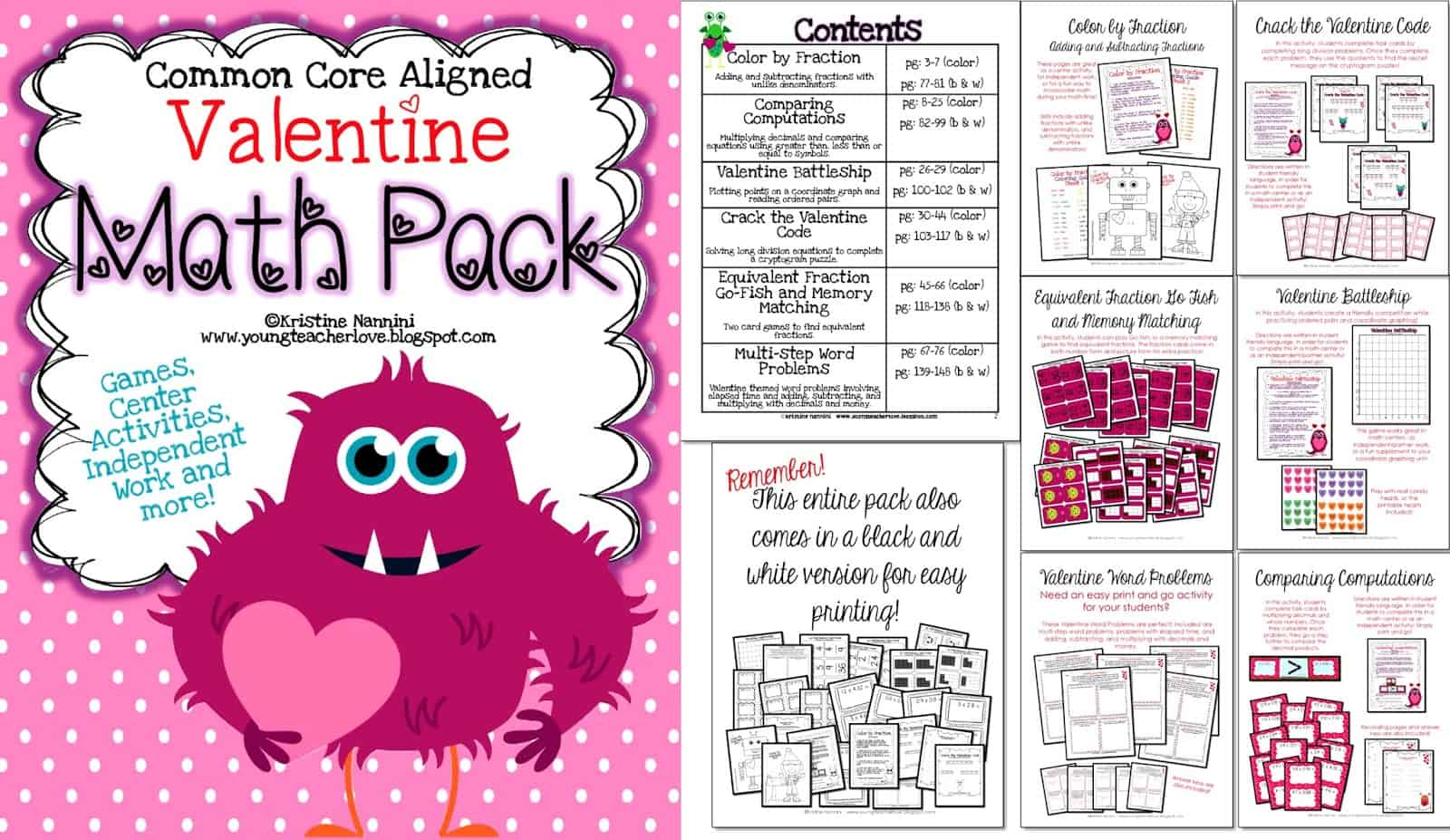 Using My Valentine Math Pack In Our Classroom