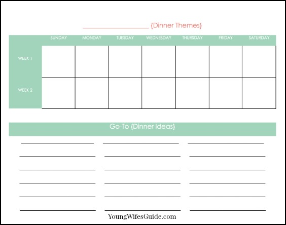 simple meal planning with a free printable young wife s guide