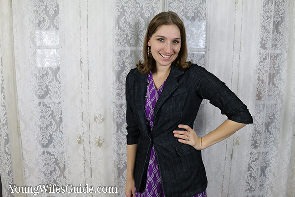 Purple dress with blazer