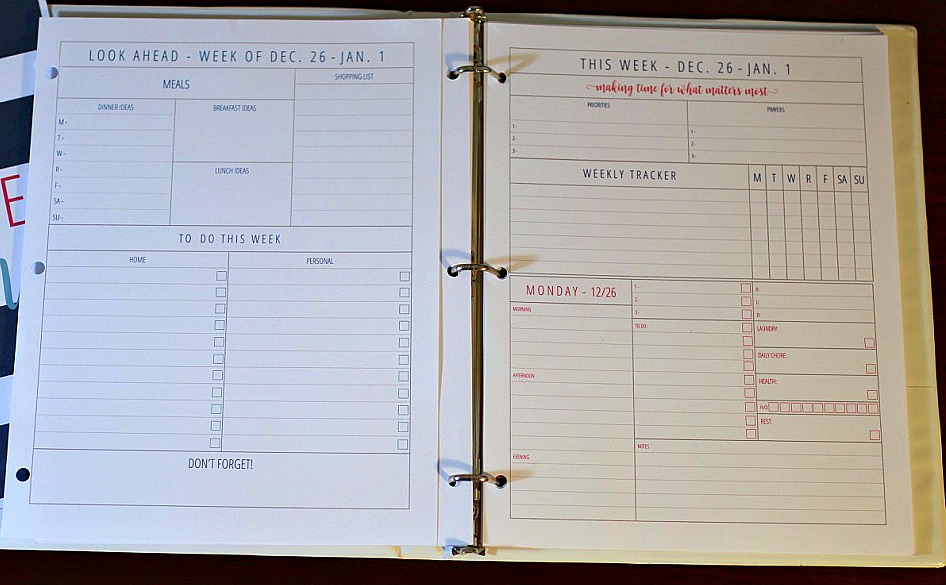 Inside the organized life planner