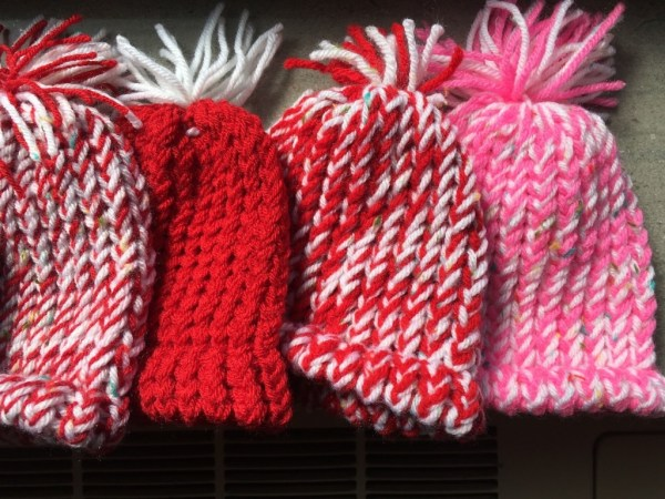 YW Service Project hand knit newborn hats for hospitals!