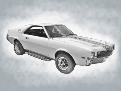 custom car drawing with a grey added background