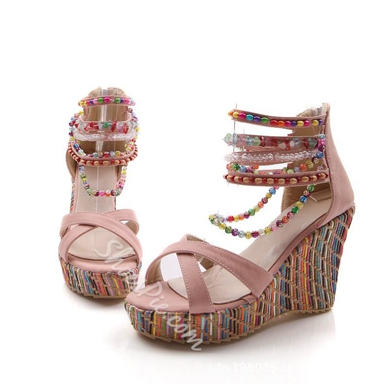 b5dd2d38d2a Nice Appealing Contrast Color Ankle Wrap Wedge Sandals t