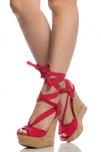 cd8b8aab7f Red Woven Wrap Around Cork Wedges - You Posh Girl