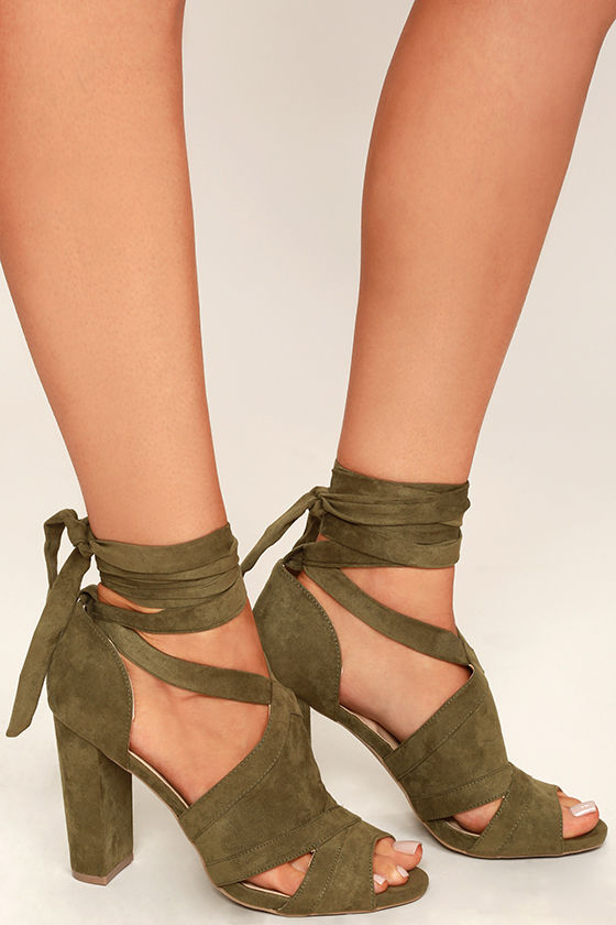 6f7c312baa A Bit of Fun Olive Green Suede Lace-Up Heels - You Posh Girl