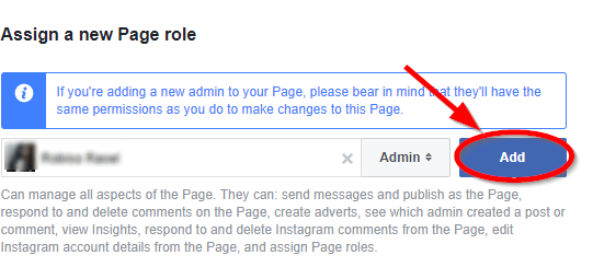 add admin tp facebook page button
